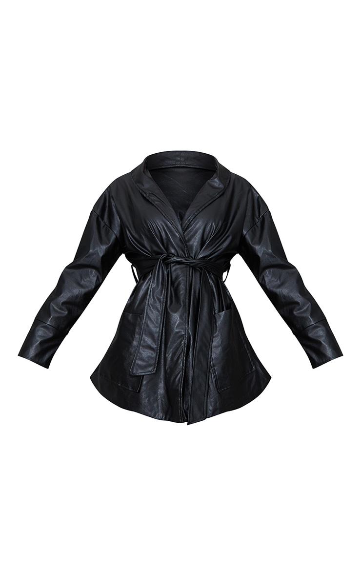 Veste longue en similicuir noir à ceinture 5