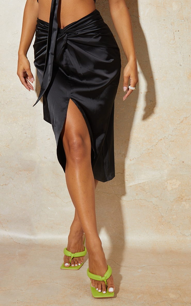 Black Satin Knot Detail Midi Skirt 2