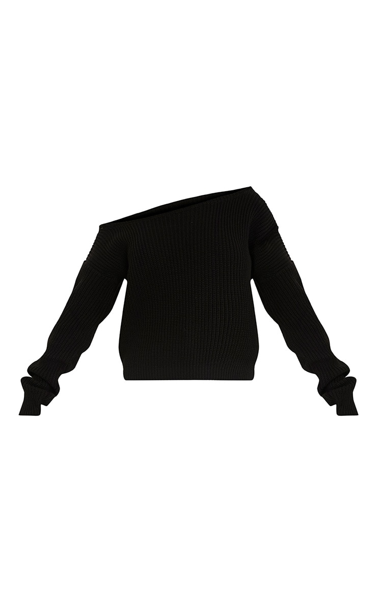 Black Off The Shoulder Knitted Crop Jumper 3