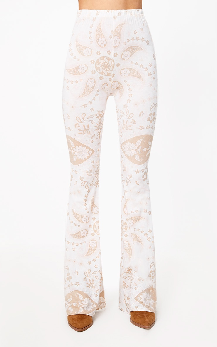White Festival Print Jersey Flare Trousers 2