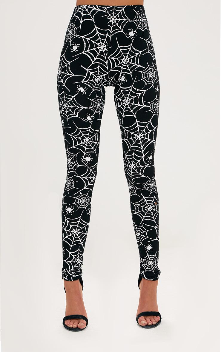 Black Spider Web Print Leggings 2