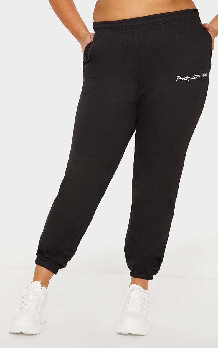 PRETTYLITTLETHING Plus Black Embroidered Logo Joggers 2