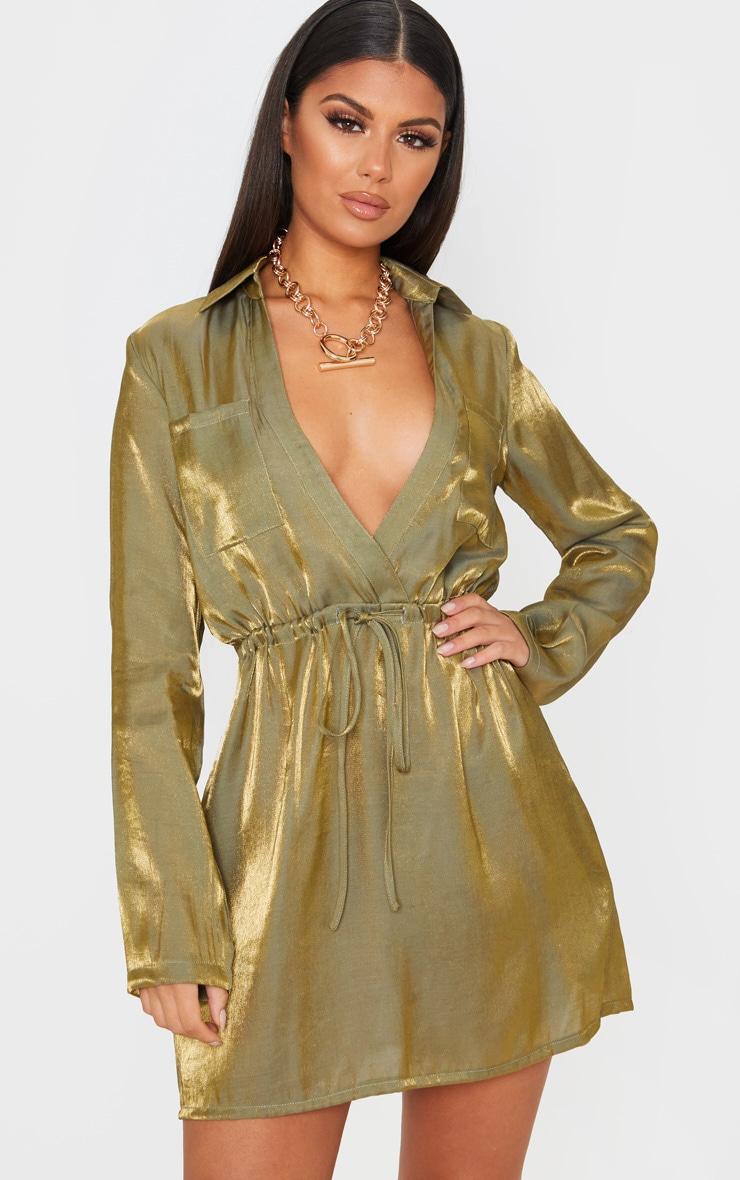 Green Metallic Iridescent Tie Waist Shift Dress 1