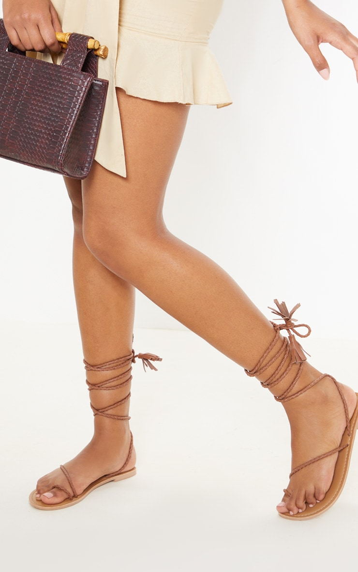 Tan Leather Plaited Rope Sandal 1