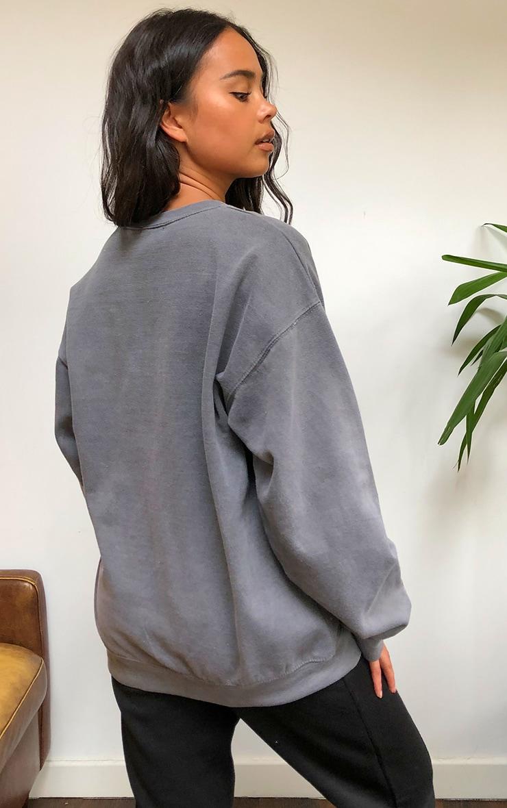 PRETTYLITTLETHING Grey Studio Washed Sweatshirt 2