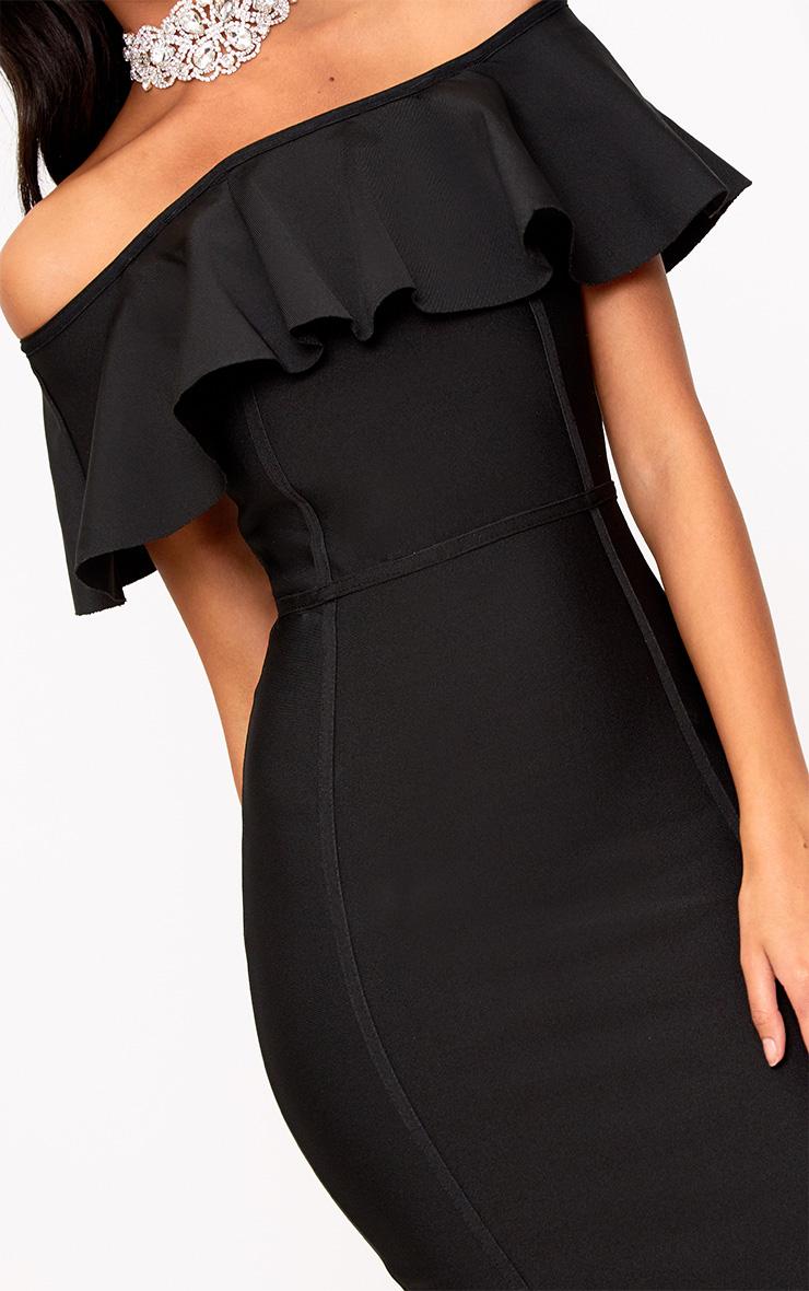 Black Bandage Frill Bardot Midi Dress 5