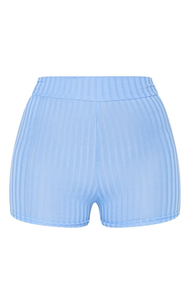 Dusty Blue Ribbed Hot Pants 6