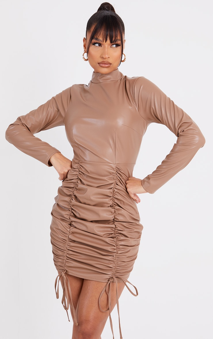 Stone PU High Neck Long Sleeve Ruched Skirt Bodycon Dress 3