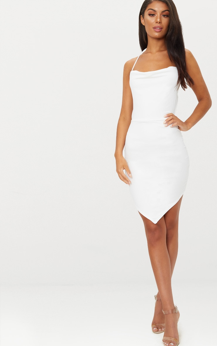 White Cowl Neck Pointy Hem Bodycon Dress 4