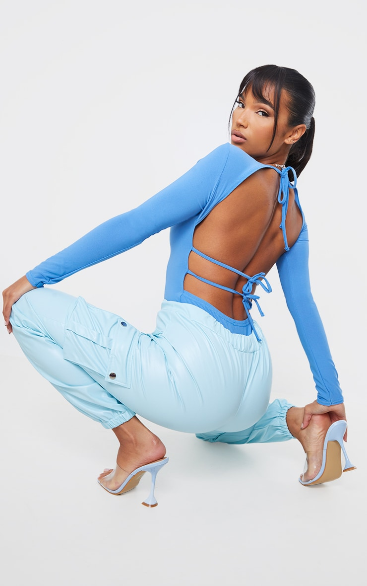 Aqua Blue Slinky Long Sleeve Back Tie Detail Bodysuit