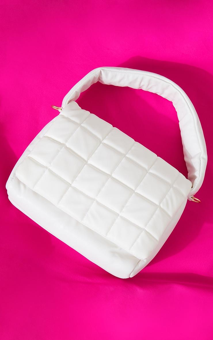 White Oversized Quilted Shoulder Bag 2
