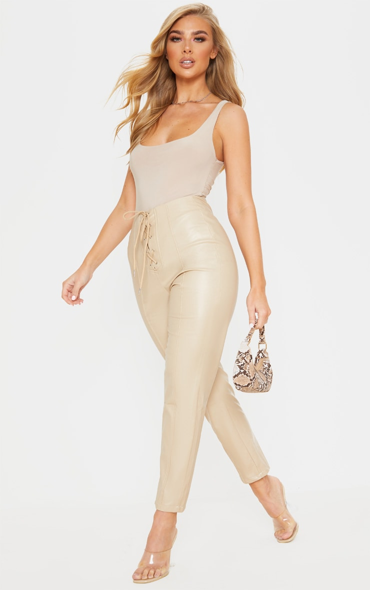 Stone Lace Up PU Skinny Trousers 1