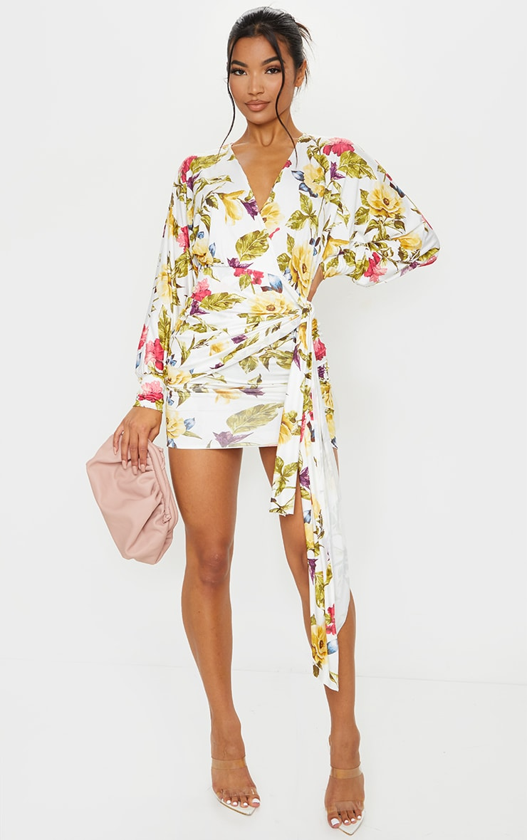 White Floral Slinky Plunge Drape Bodycon Dress 1