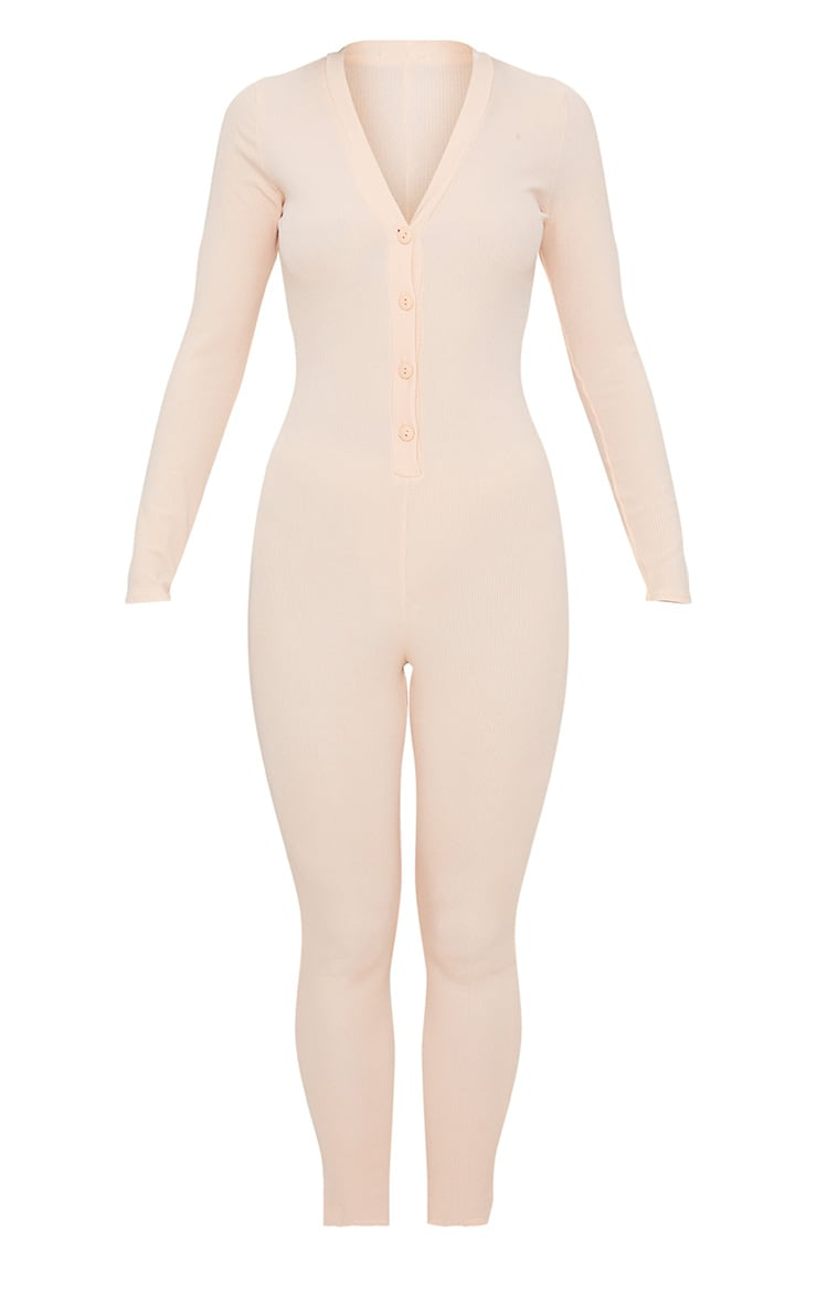 Pale Pink Ribbed Button Detail Onesie 3