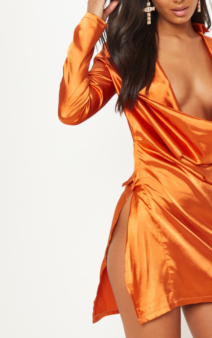 Rust Satin Cowl Neck Extreme Open Back Bodycon Dress 5