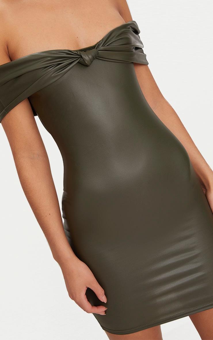 Olive Vinyl Knot Detail Bardot Bodycon Dress 5