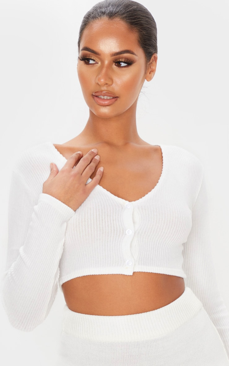 White Brushed Rib Button Up Long Sleeve Crop Top 6