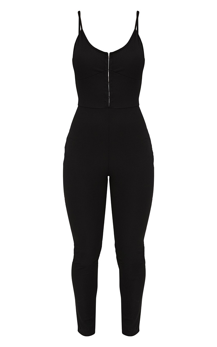 Black Ribbed Hook And Eye Jumpsuit 3