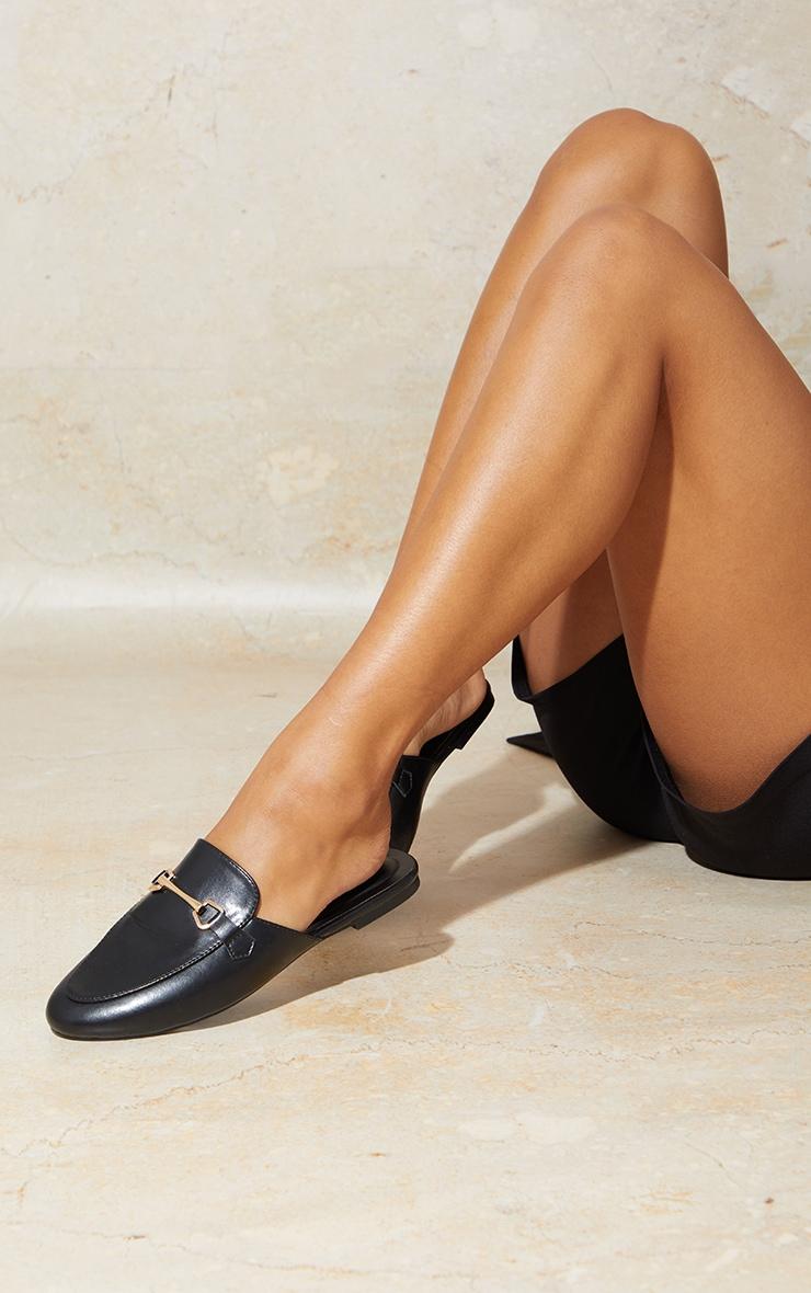 Black Flat Loafer Mules 2