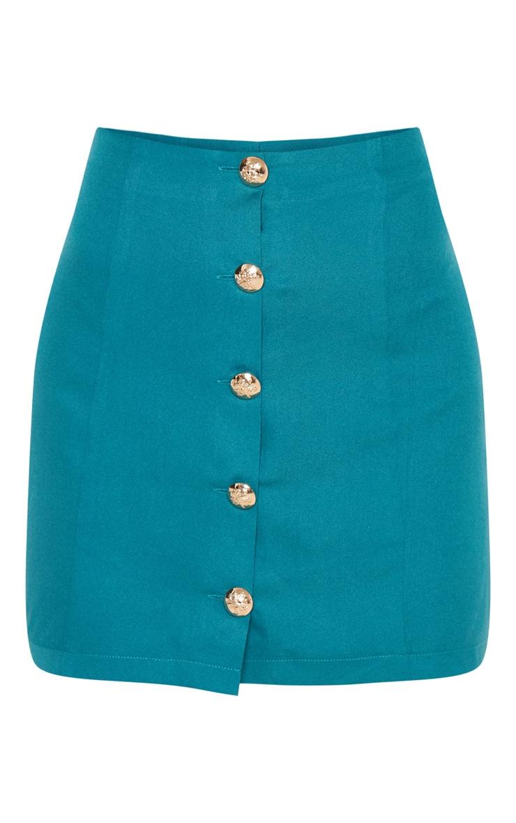Petite - Mini-jupe vert émeraude à boutons 3