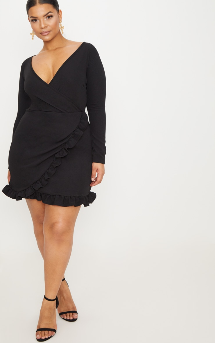 Plus Black Ruffle Detail Wrap Dress 4