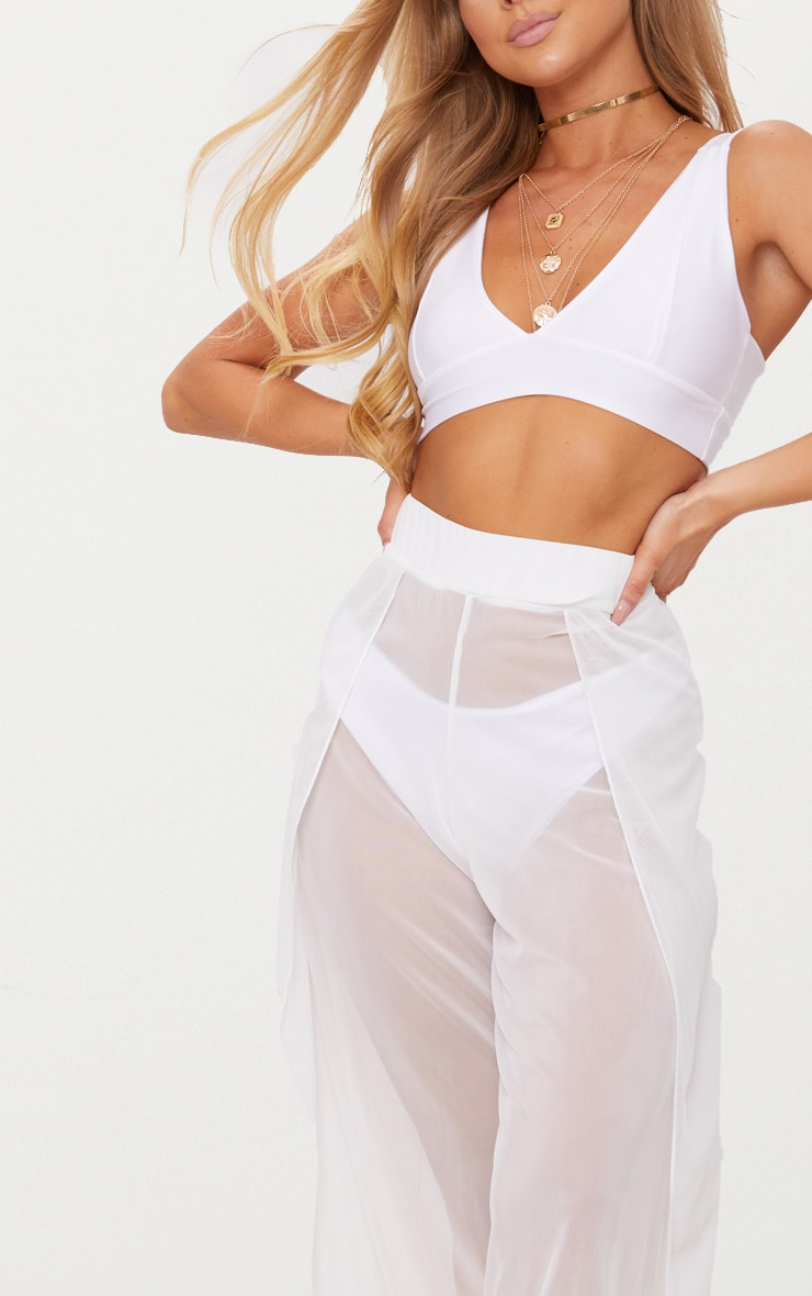 White Mesh Split Beach Trouser 5