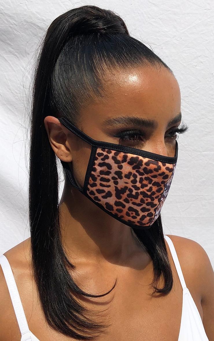 Tan Mixed Animal Print Fashion Mask 1