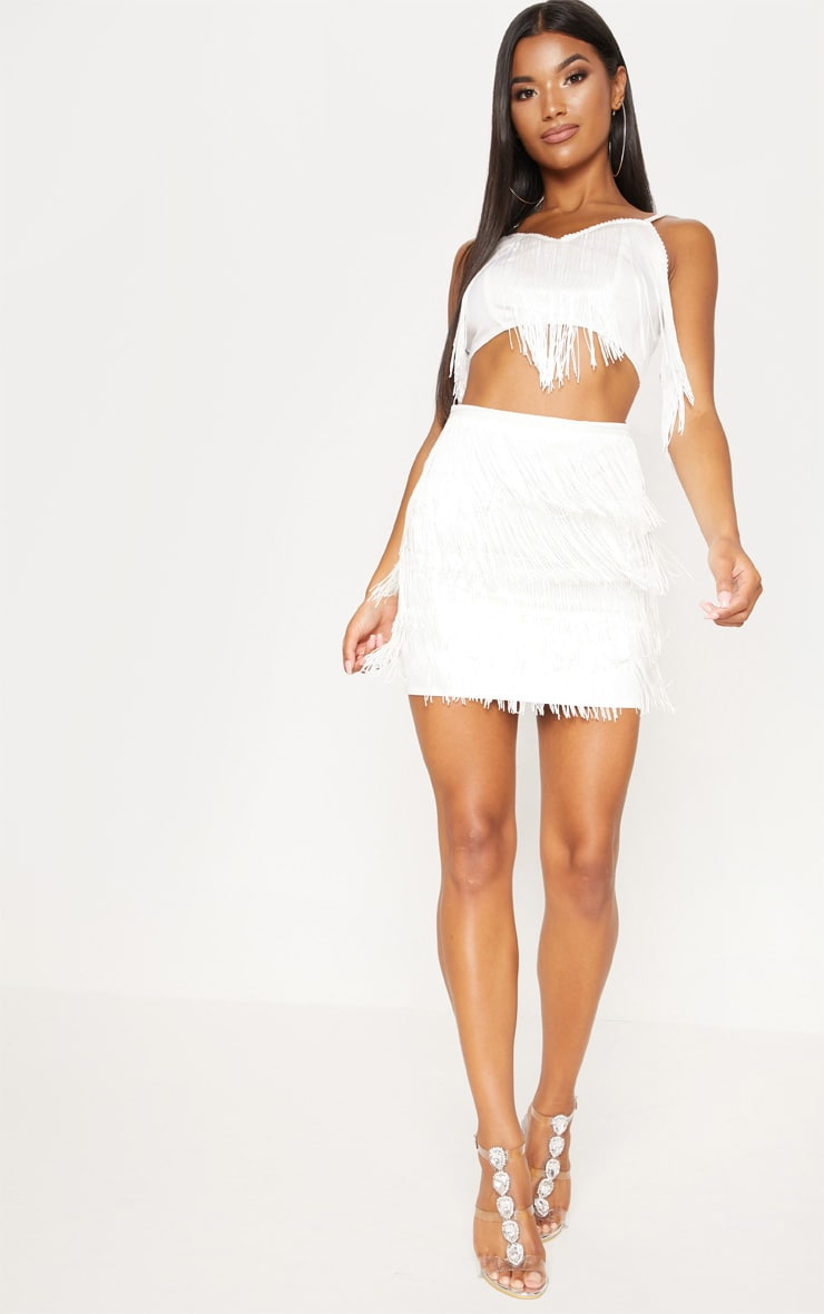 White Tiered Fringe Mini Skirt 5