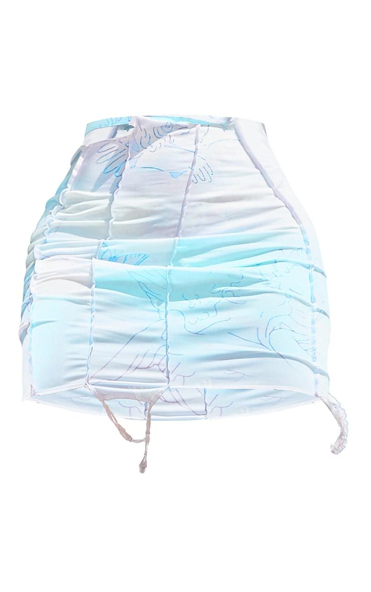 Shape Lilac Cherub Print Slinky Overlock Cut Out Detail Bodycon Skirt 6
