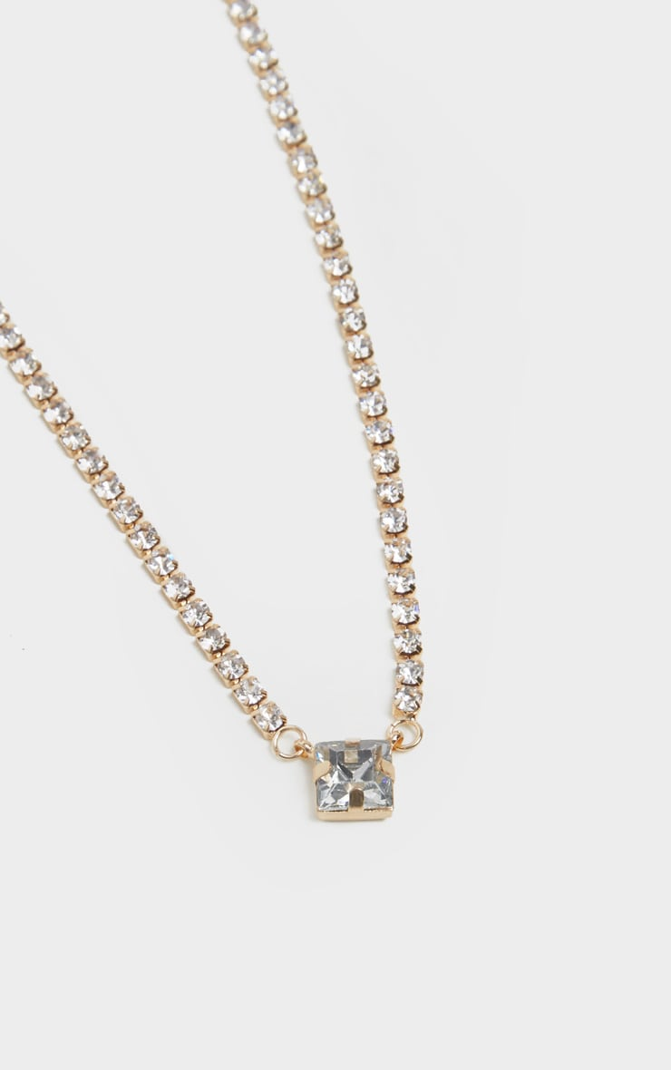 Gold Chain Simple Diamante Pendant Necklace 4