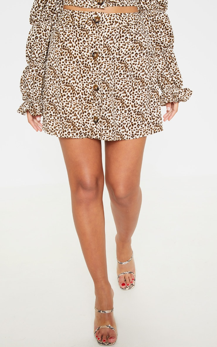Cream Leopard Print Button Detail Mini Skirt 3