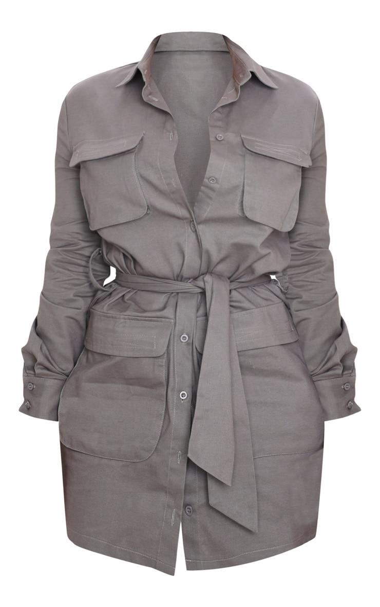 Petite Charcoal Utility Tie Waist Shirt Dress 3