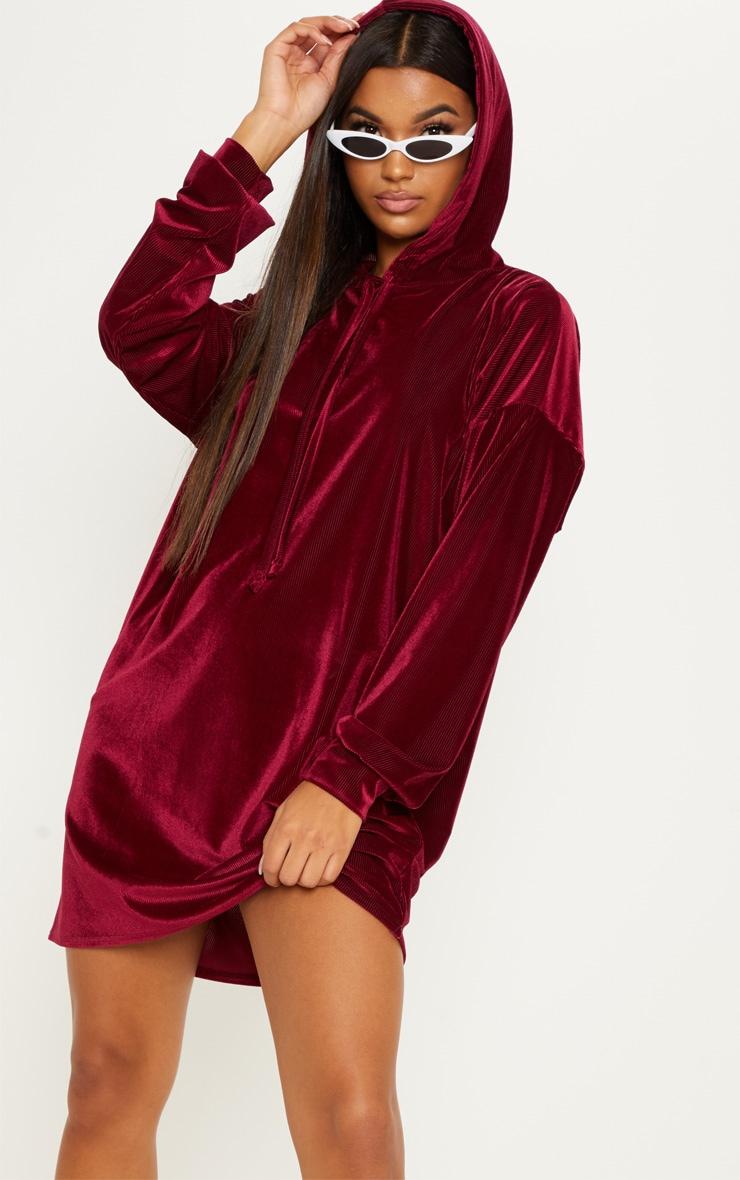 8db277df961 Burgundy Ribbed Velvet Oversized Hoodie Jumper Dress image 1
