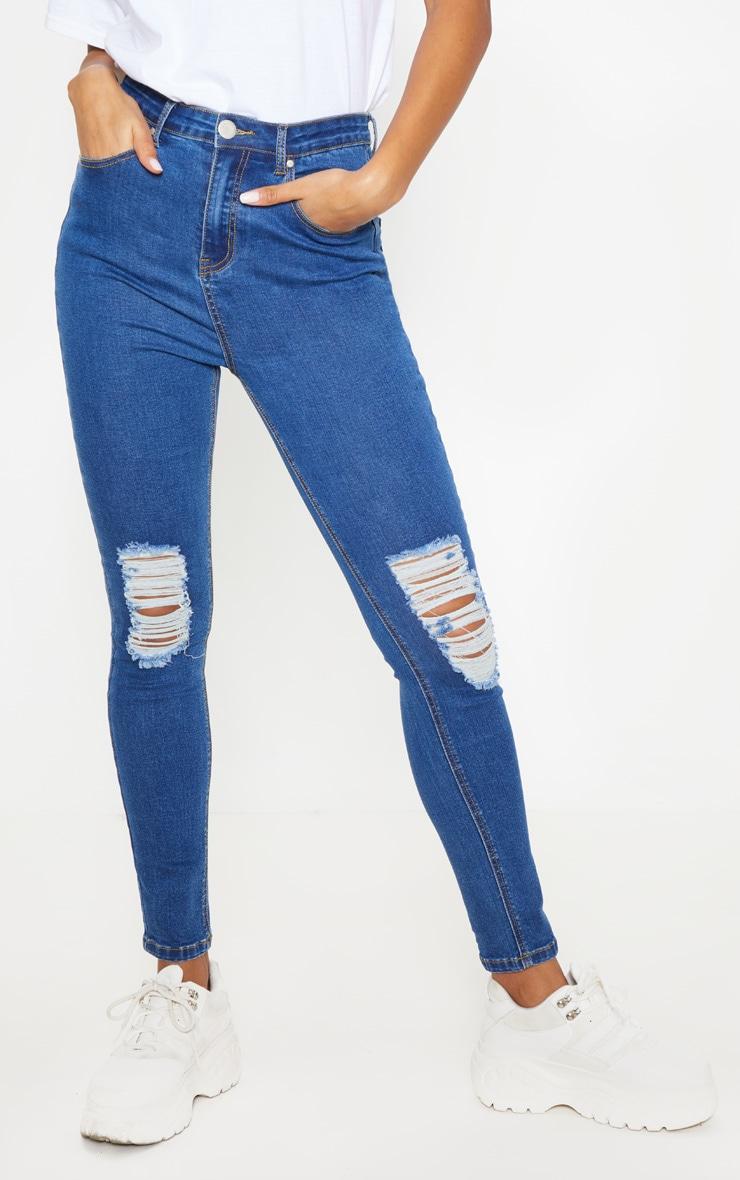 Mid Wash Knee Rip 5 Pocket Skinny Jean  2