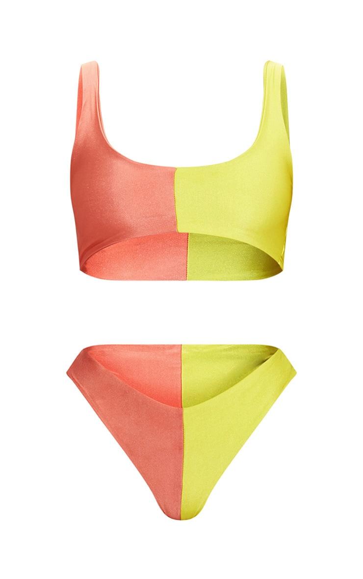 Lime Two Tone Scoop Neck Bikini Set 3