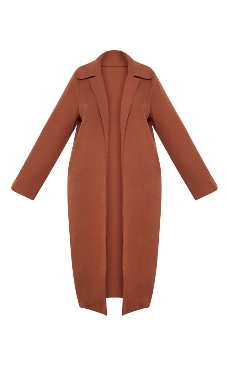 Plus Chocolate Brown Longline Duster Coat 3