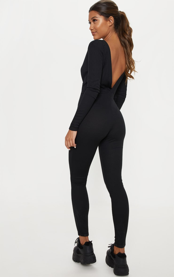 Black Fine Rib Button Up Long Sleeve Jumpsuit 2