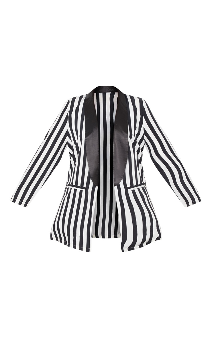 Plus Monochrome Stripe Longline Blazer 3