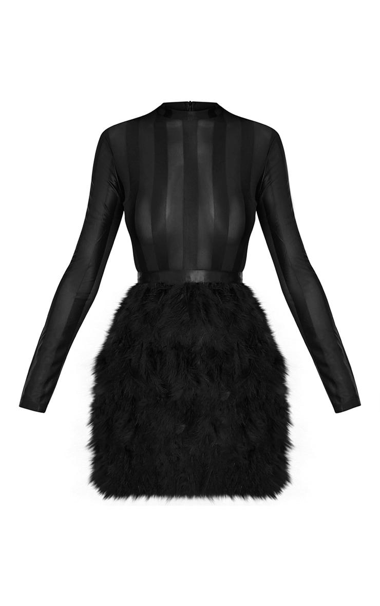 Fawn robe moulante à jupe à plumes noire 4