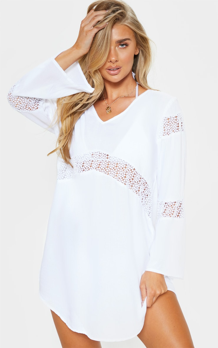 White Oversized Crochet Trim Beach Tunic 1