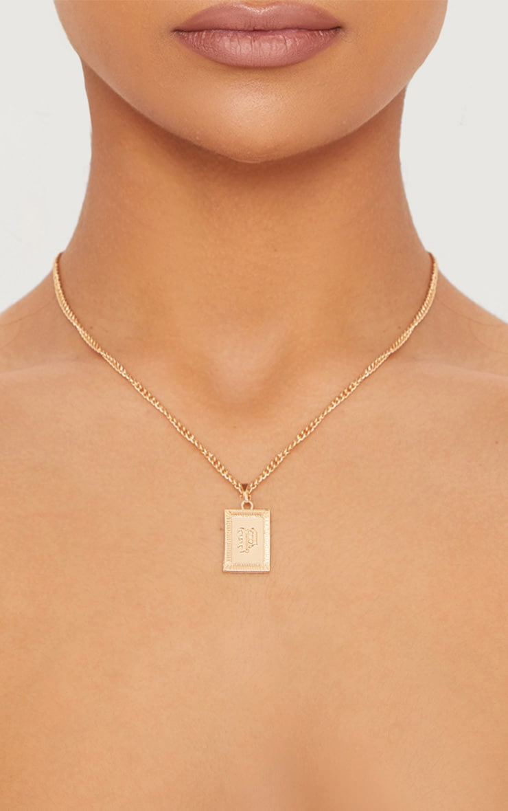 Gold Square Letter P Pendant Necklace 1