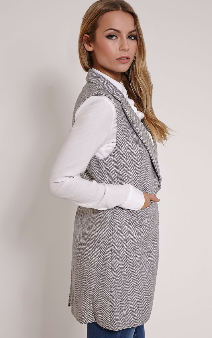 Leelee Grey Striped Sleeveless Jacket 3