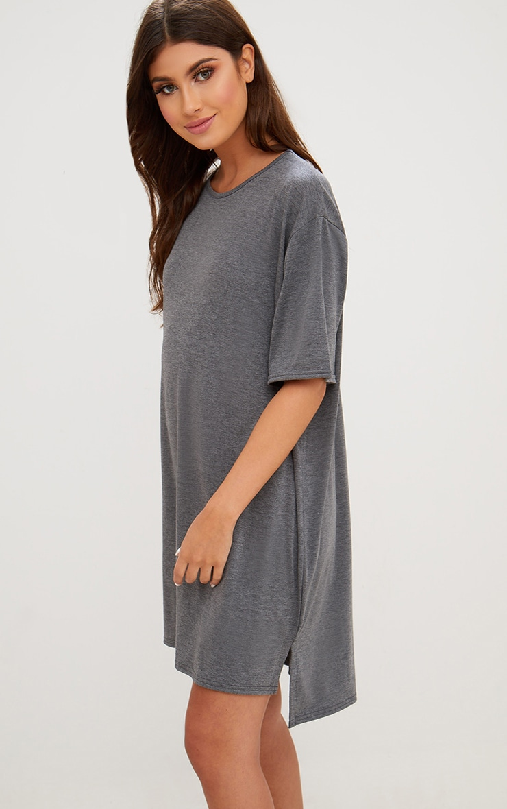 Charcoal Jersey Stepped Hem T Shirt Dress 1