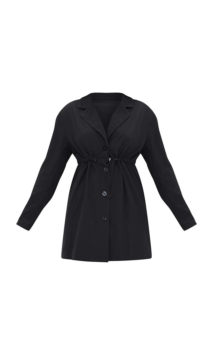 Black Woven Elasticated Waist Collared Shift Dress 5
