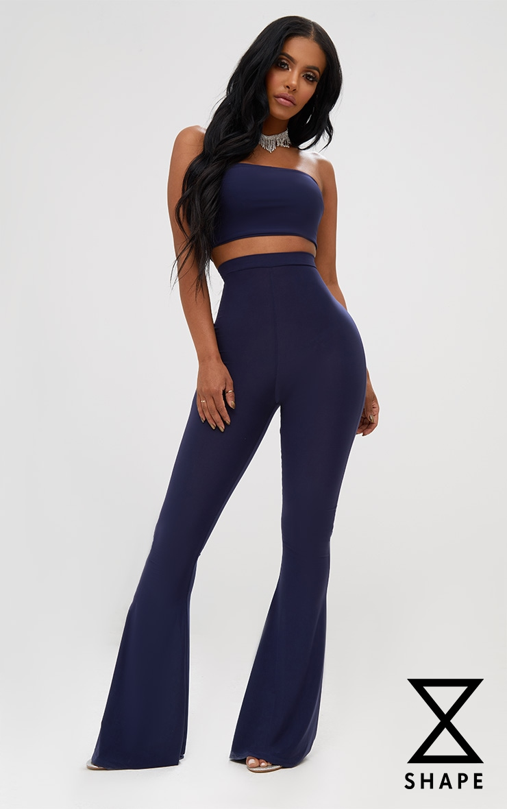 Shape Navy Slinky Flared Leg Trousers