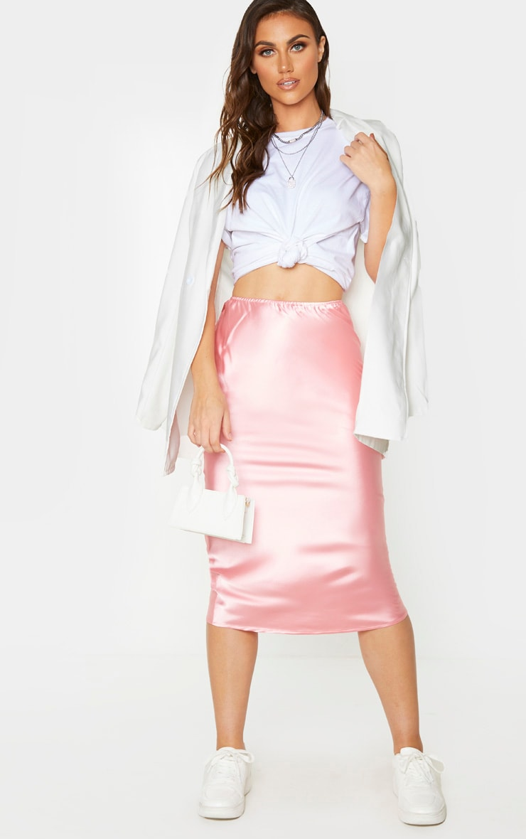 Candy Pink Satin Midi Skirt 1