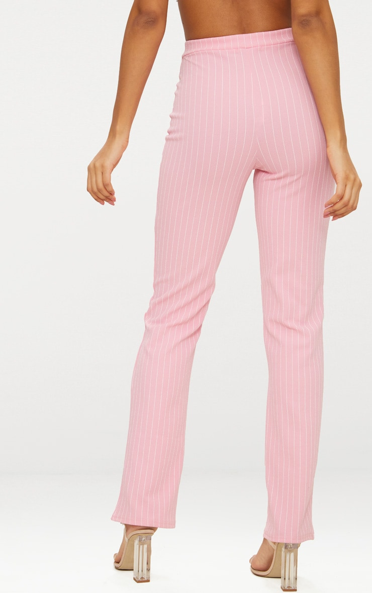 Pink Pin Striped Straight Leg Trouser  3