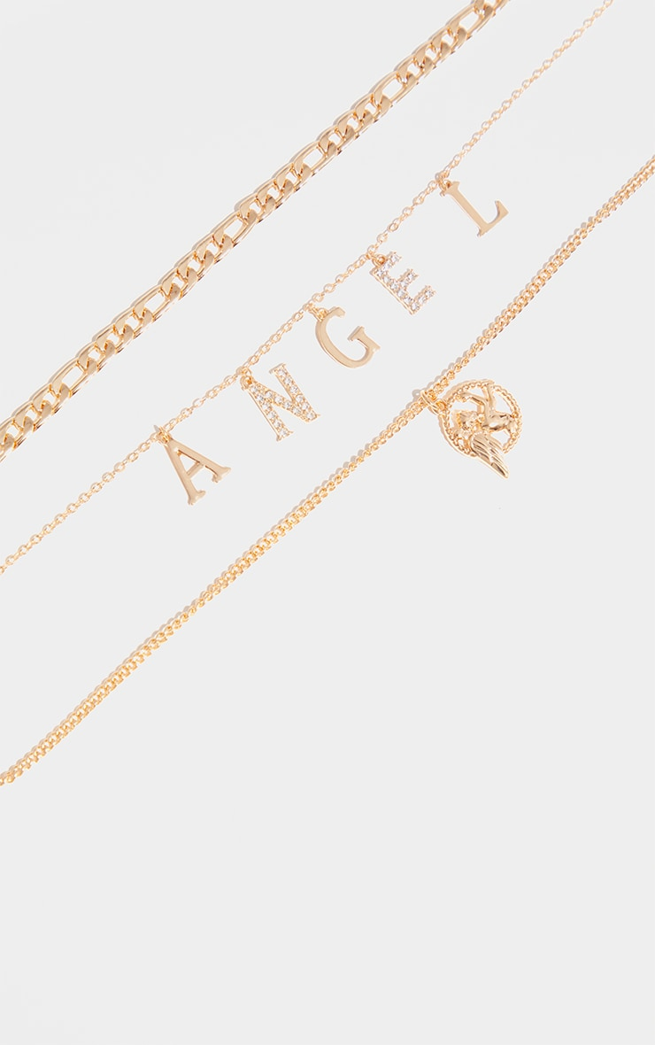 Gold Diamante Angel Layering Necklace 3