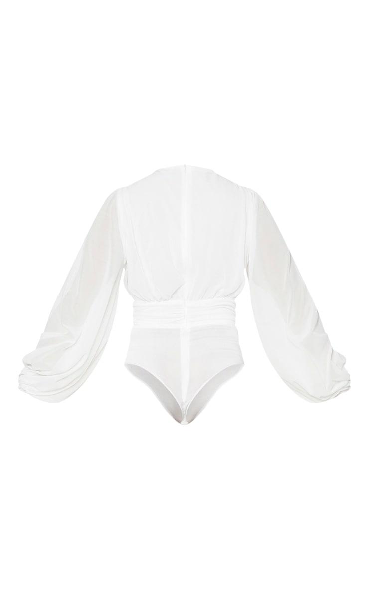 White Mesh Ruched Waistband Bodysuit 6