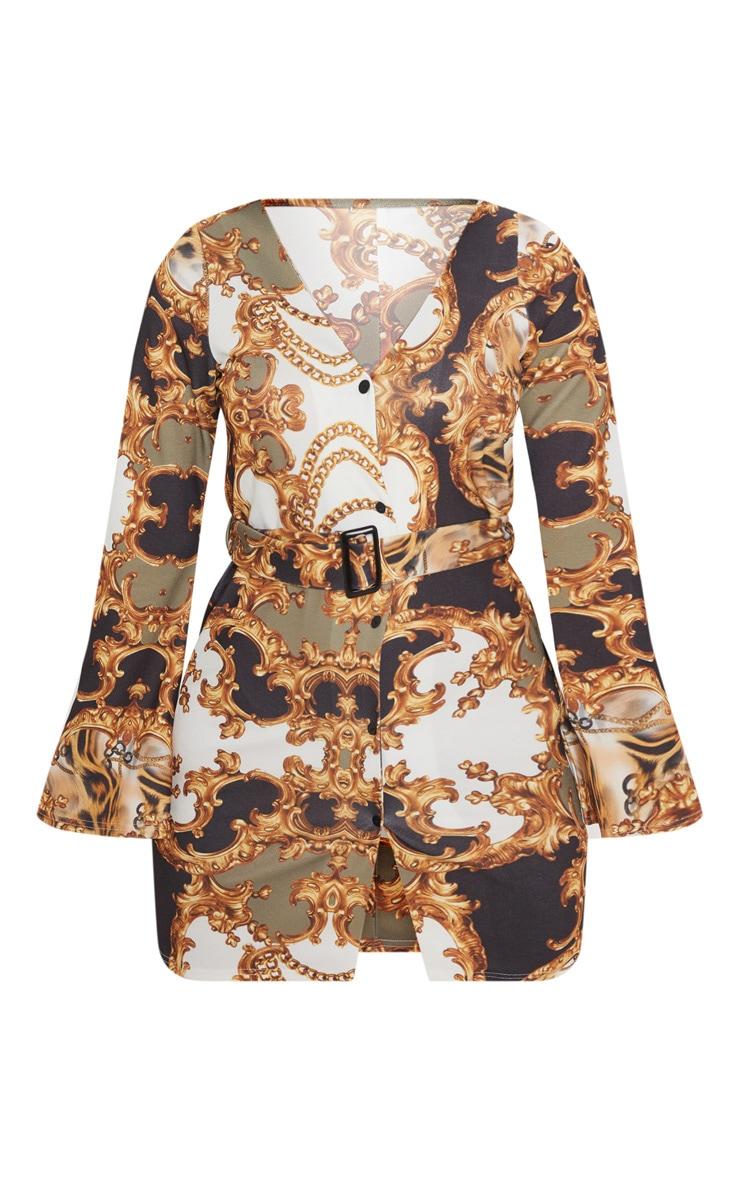 Brown Chain Print V Neck Button Shift Dress 3